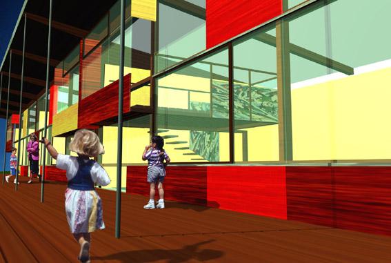 Kindergarten Forchtenstein - Visualisierung Terrasse