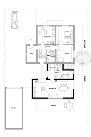 House at the back of a house - Floor plan