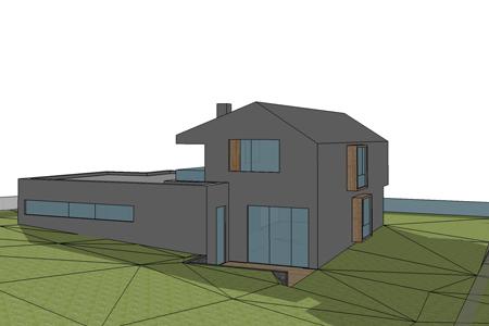 Haus mit Schneeberg-Blick