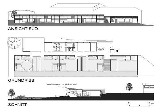 Kindergarten Forchtenstein - Ansicht, Grundriss und Schnitt